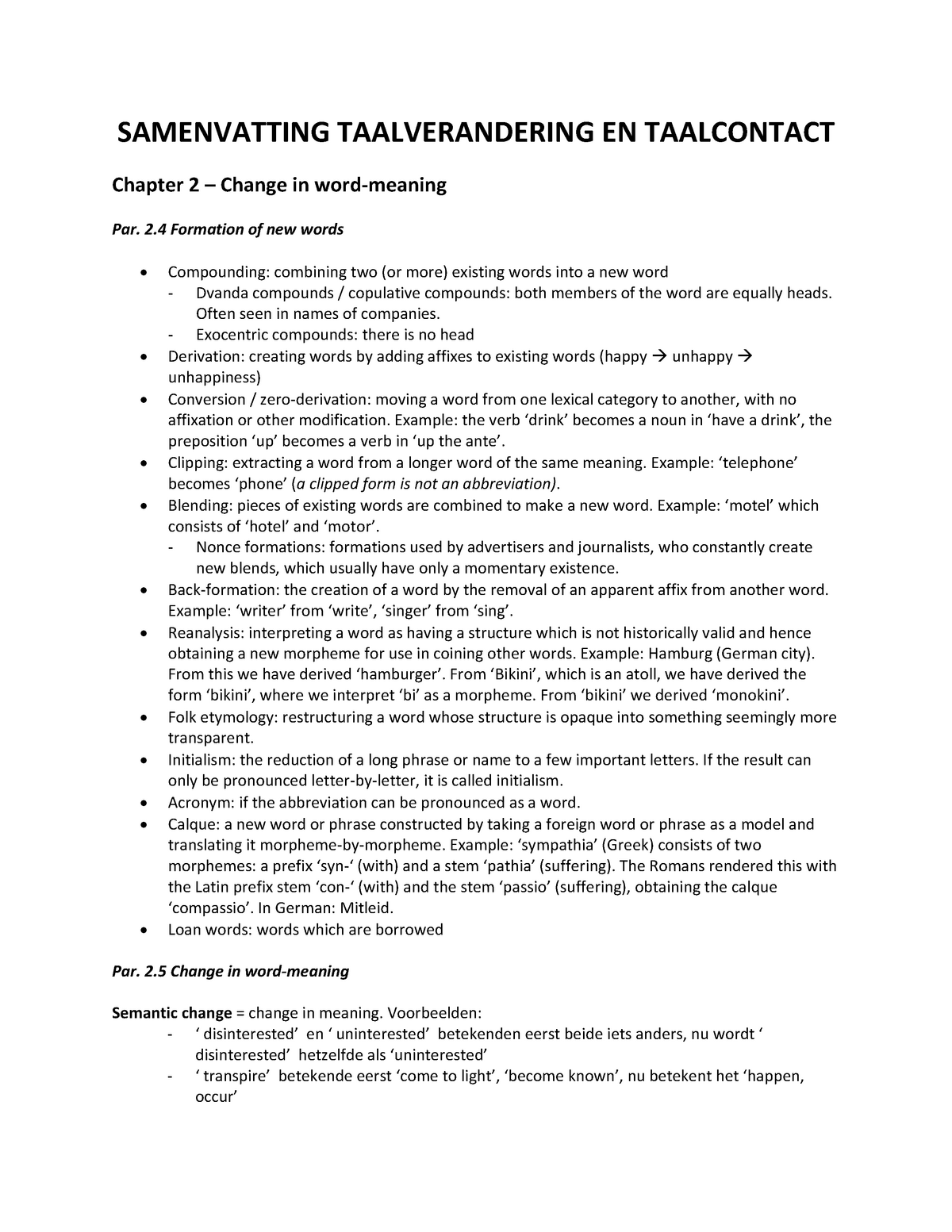 Samenvatting Trask's Historical Linguistics 22 May 2014 - StudeerSnel nl