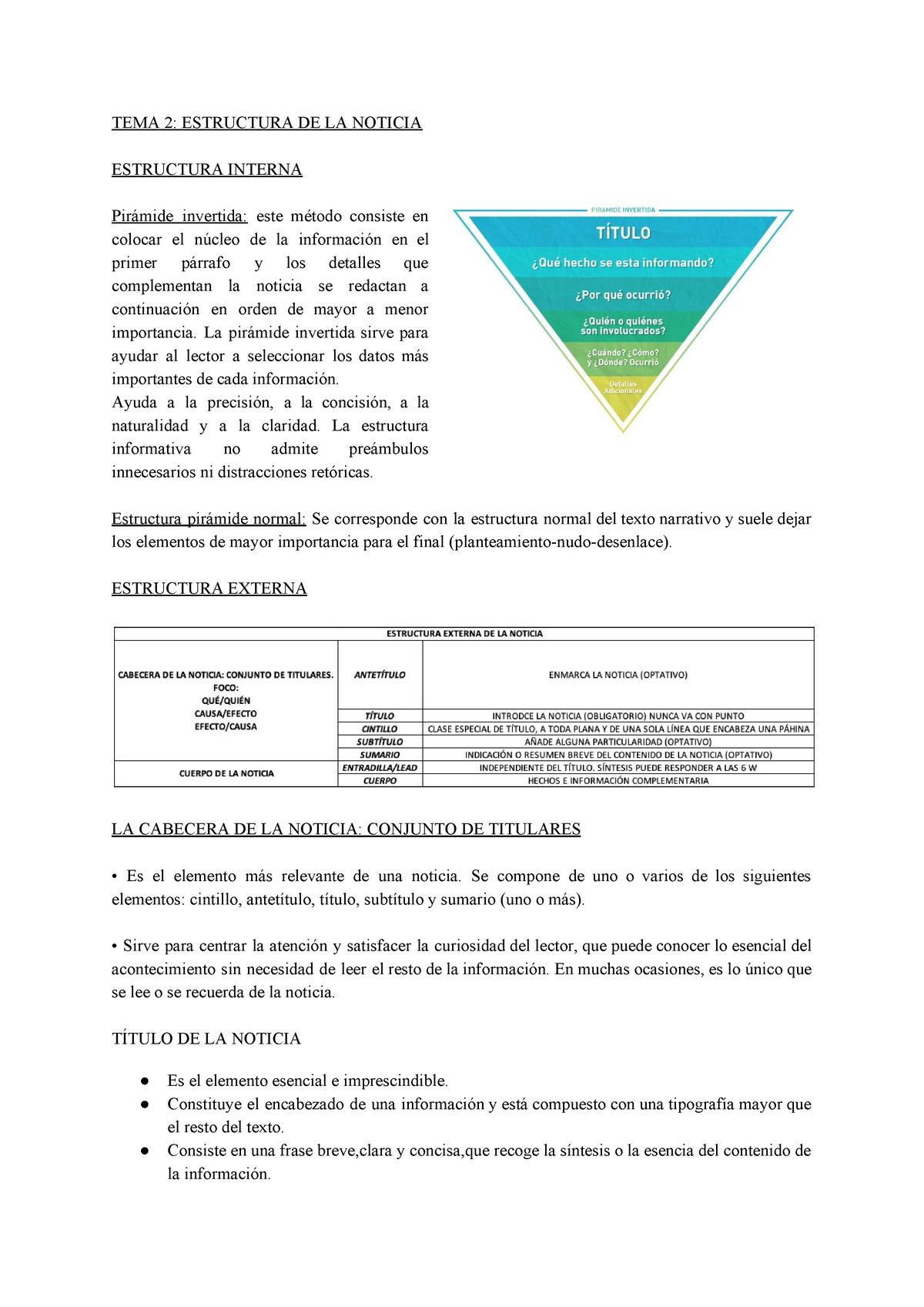 Tema 2 Apuntes 2 La Noticia Periodística 212 13270 Studocu
