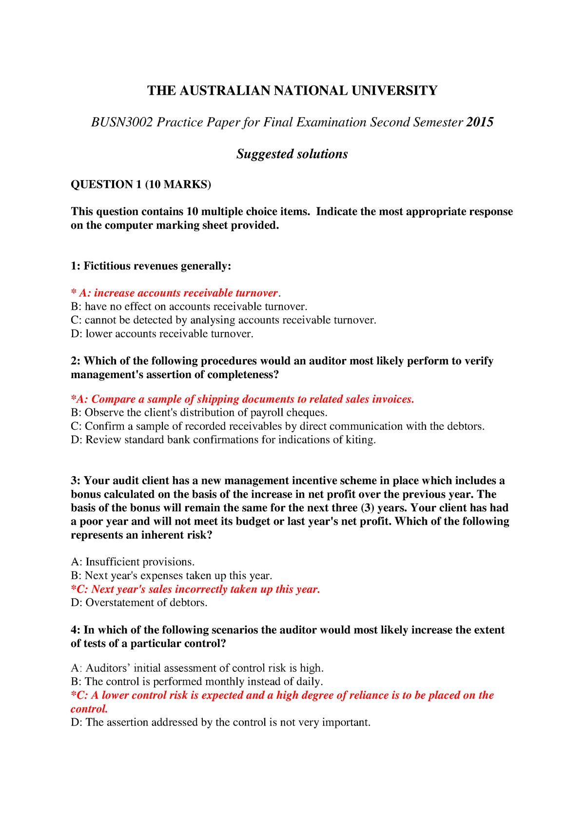 Exam 2015 - BUSN3002: Auditing - StuDocu