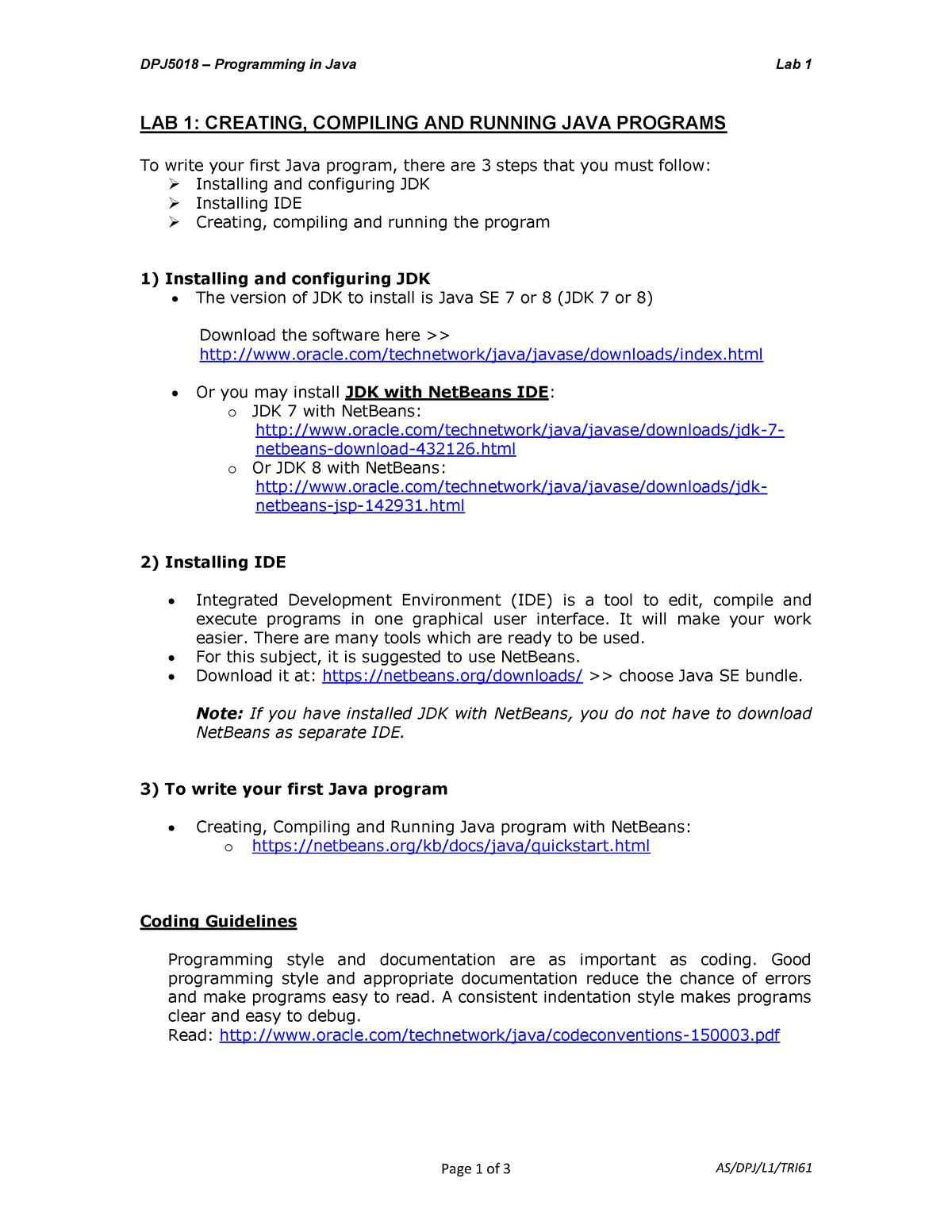 48871 LAB 1 - Tutorial - Programming in Java - StuDocu