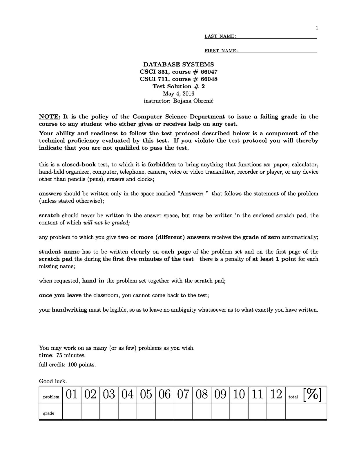 Exam 2014 - CSCI 331: Database Systems - StuDocu
