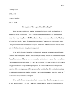 Examples Of Essay Papers The Appeals Of The Logic Of Stupid Poor People  Engl  Cc Introduction  To Writing  Studocu Essay Thesis Statement Examples also Persuasive Essay Sample Paper The Appeals Of The Logic Of Stupid Poor People  Engl  Cc  Essay Science And Religion