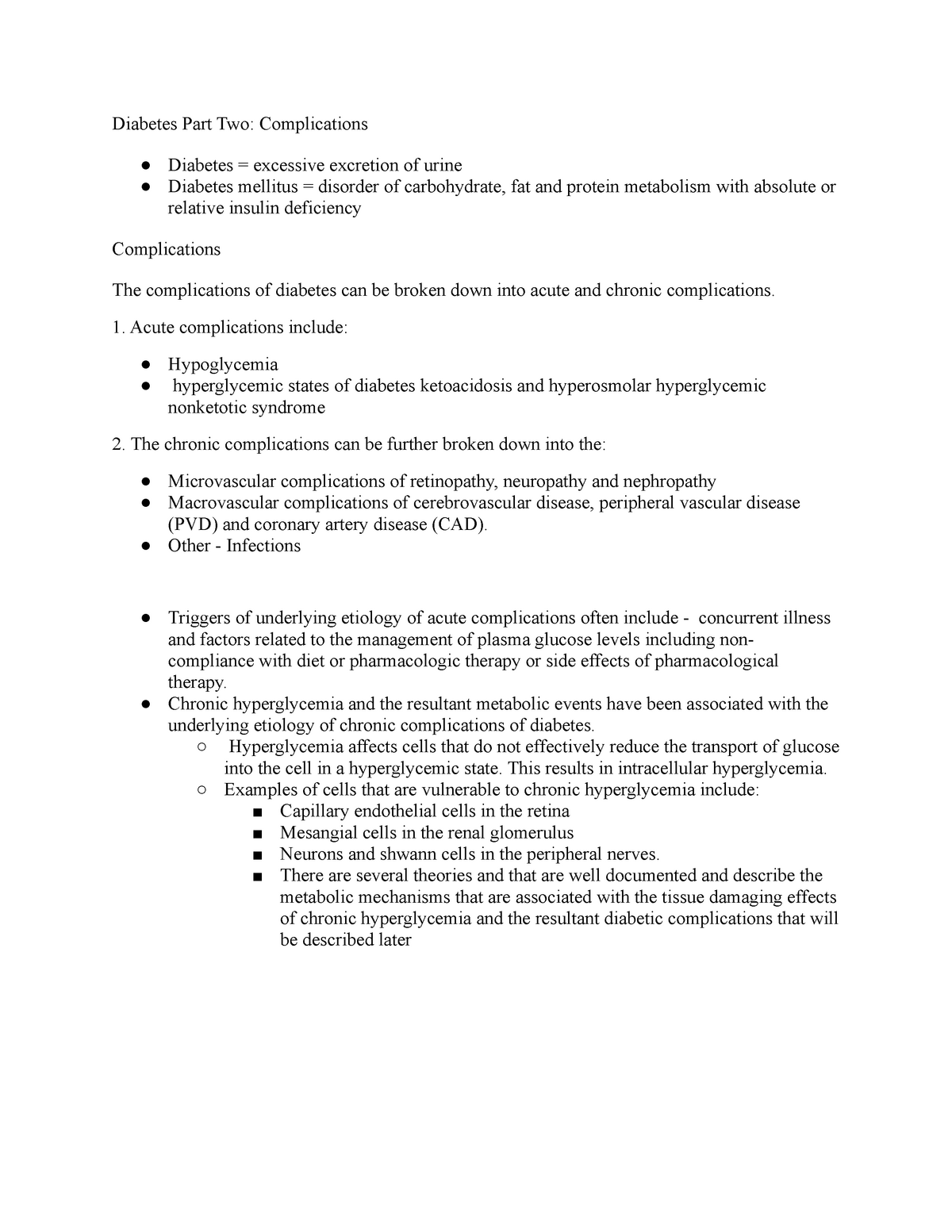 Lecture notes, lecture Diabetes Part Two: Complications