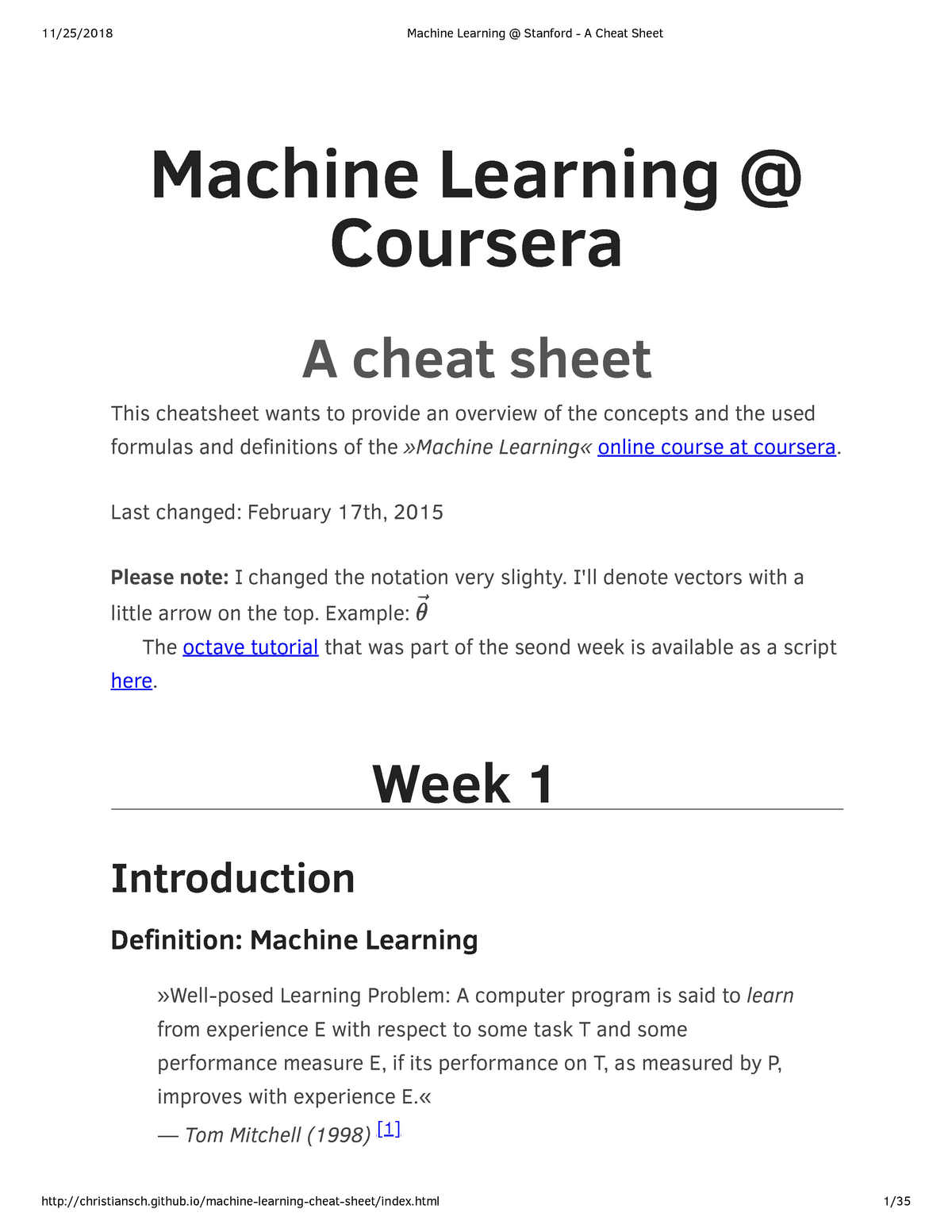 Machine Learning @ Stanford - A Cheat Sheet - CS 229 - StuDocu