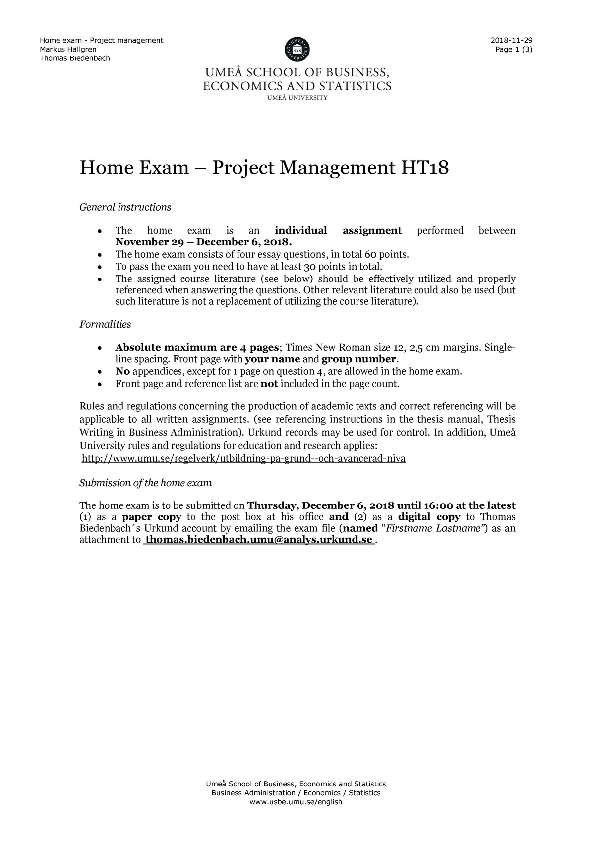 Tenta 2018 - 2FE122 :Project Management and Organizational Design D