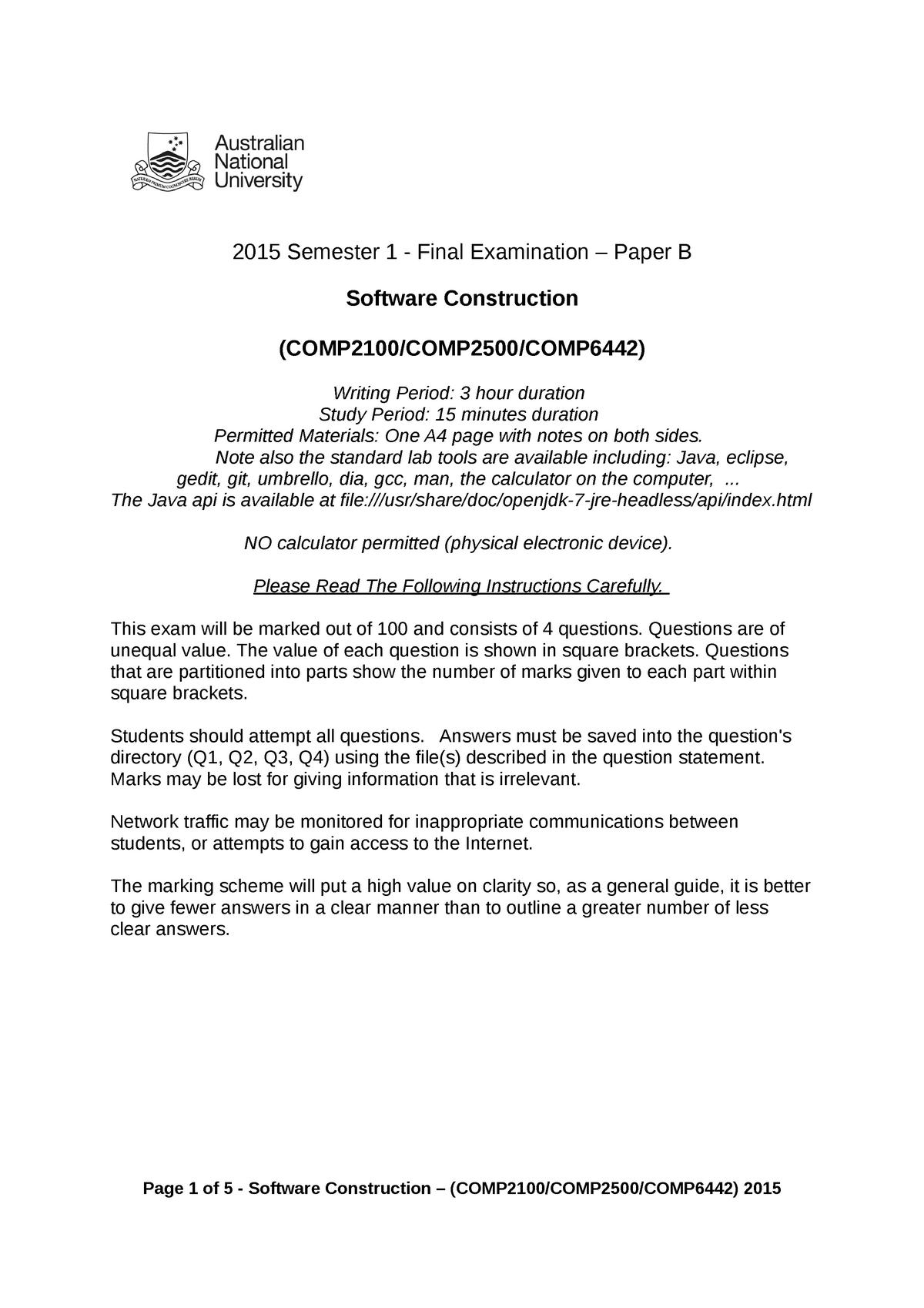 Exam 2015 - COMP2100: Software Construction - StuDocu