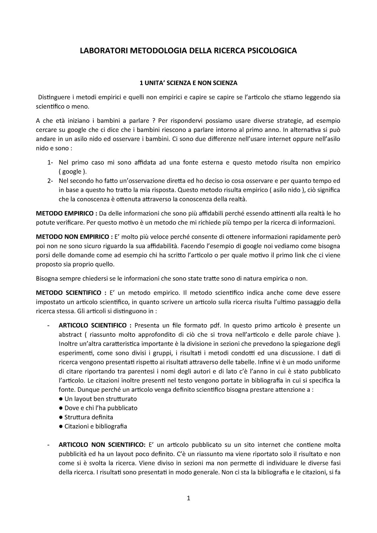 Laboratori Online Del Corso Metodologia Della Ricerca