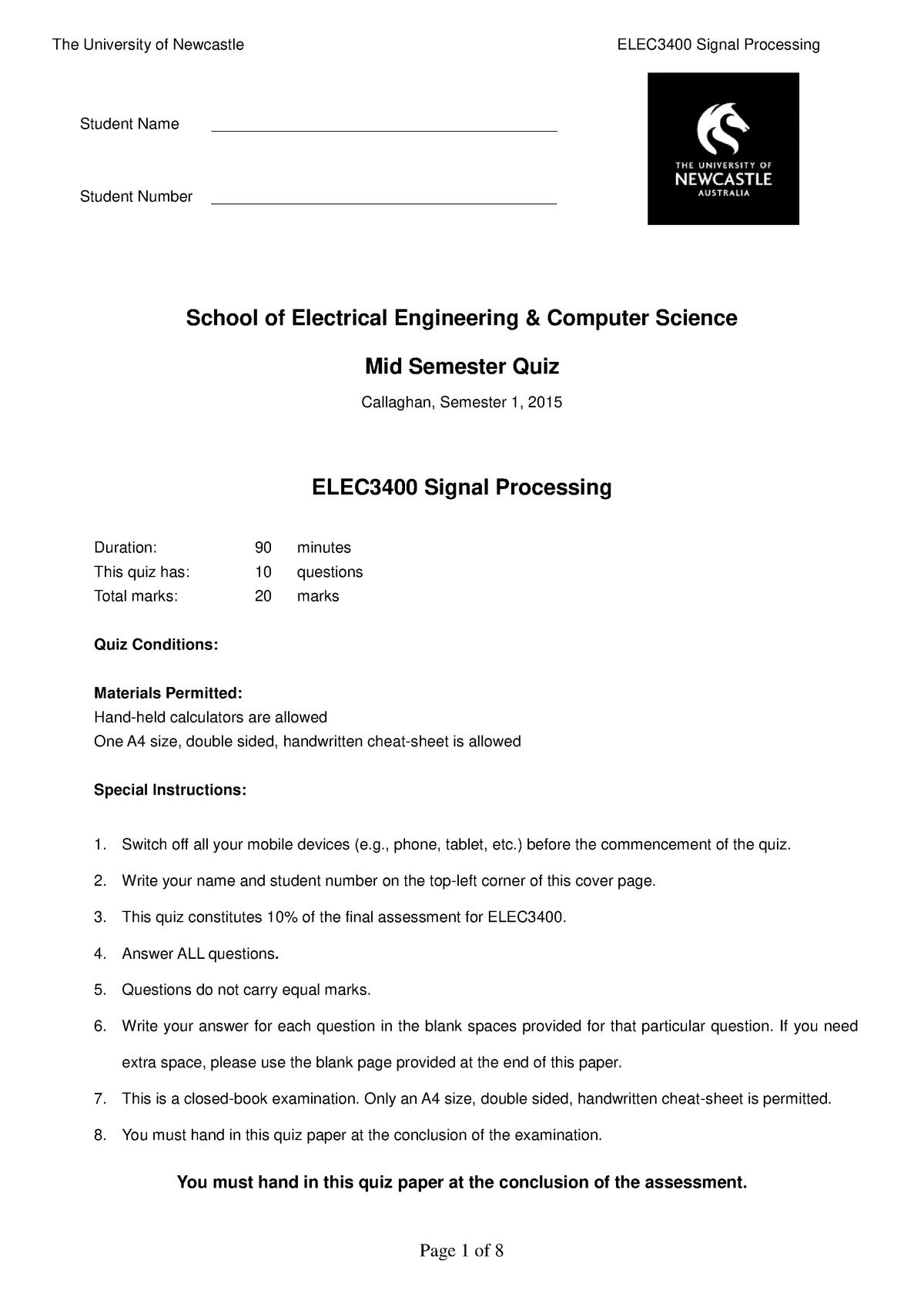 ELEC3400 Quiz Sem1 - ELEC3400: Signal Processing - StuDocu