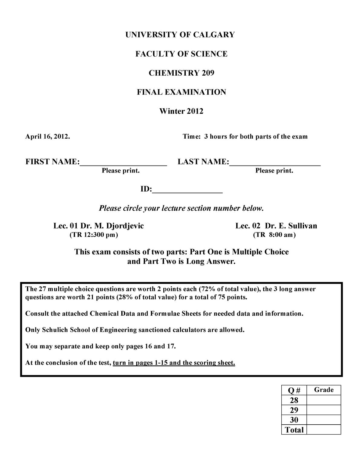 Exam 2012 - Chemistry 209: General Chemistry for Engineers - StuDocu