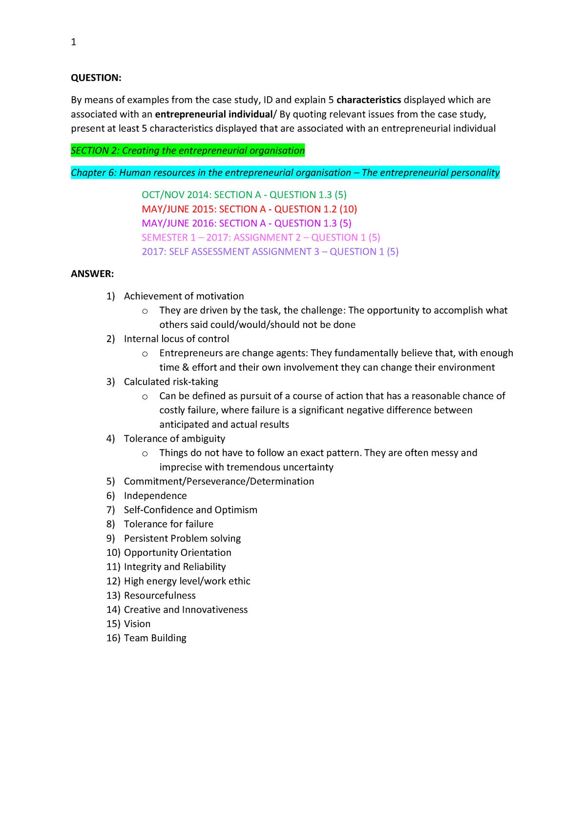 Exams-combined- Summary - MNB3701 - StuDocu