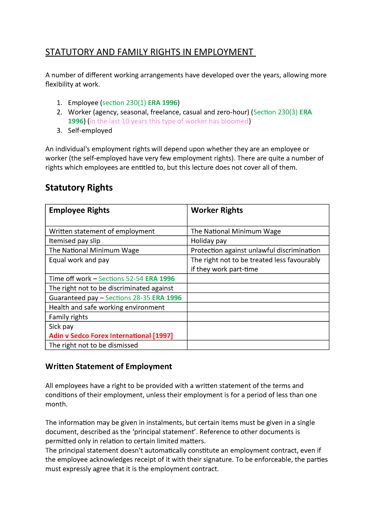 L9 Rights. - Lecture notes 1 - Employment Law - CCCU - StuDocu