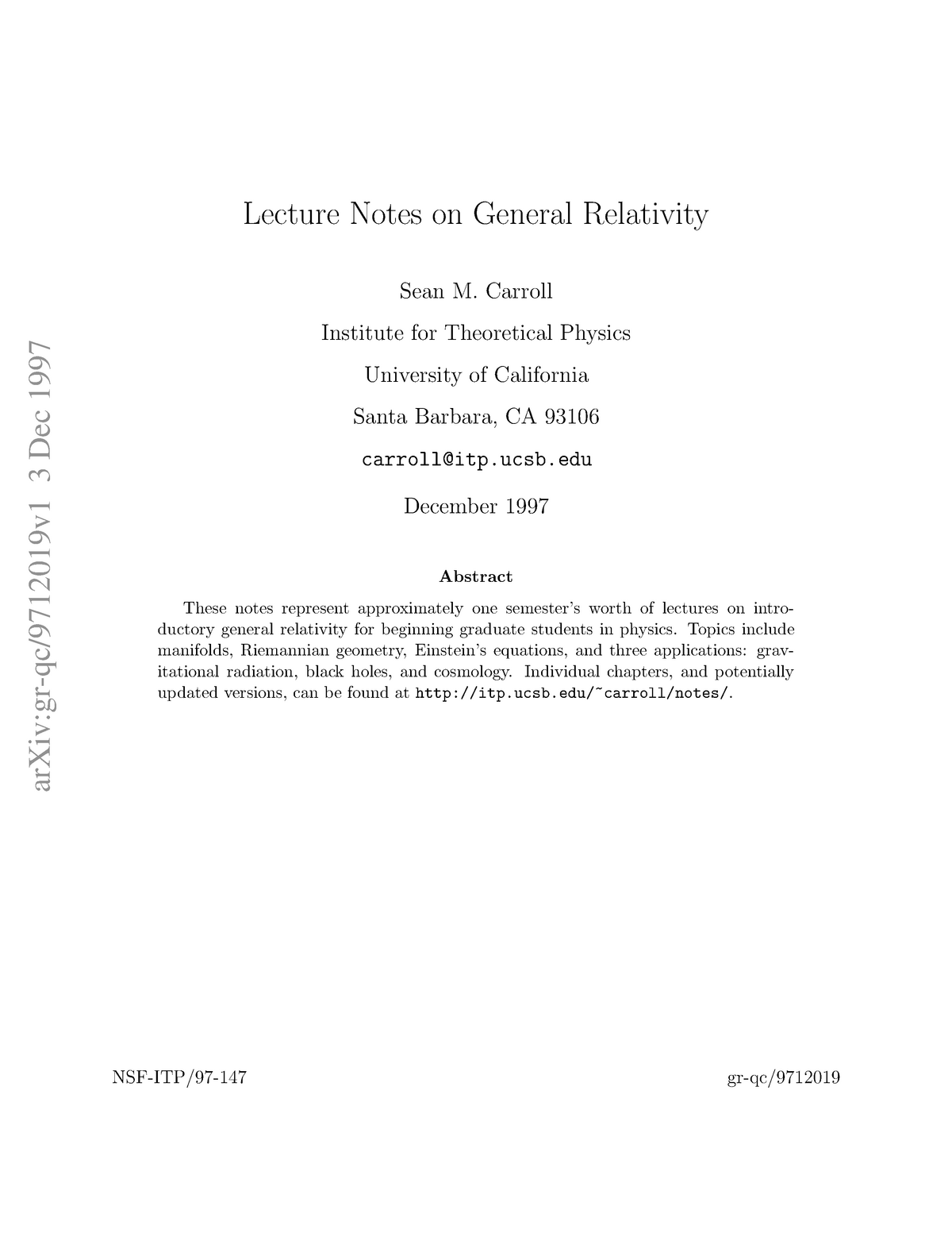 S Carroll Lecturenotes - PHYS 407: Introduction To General