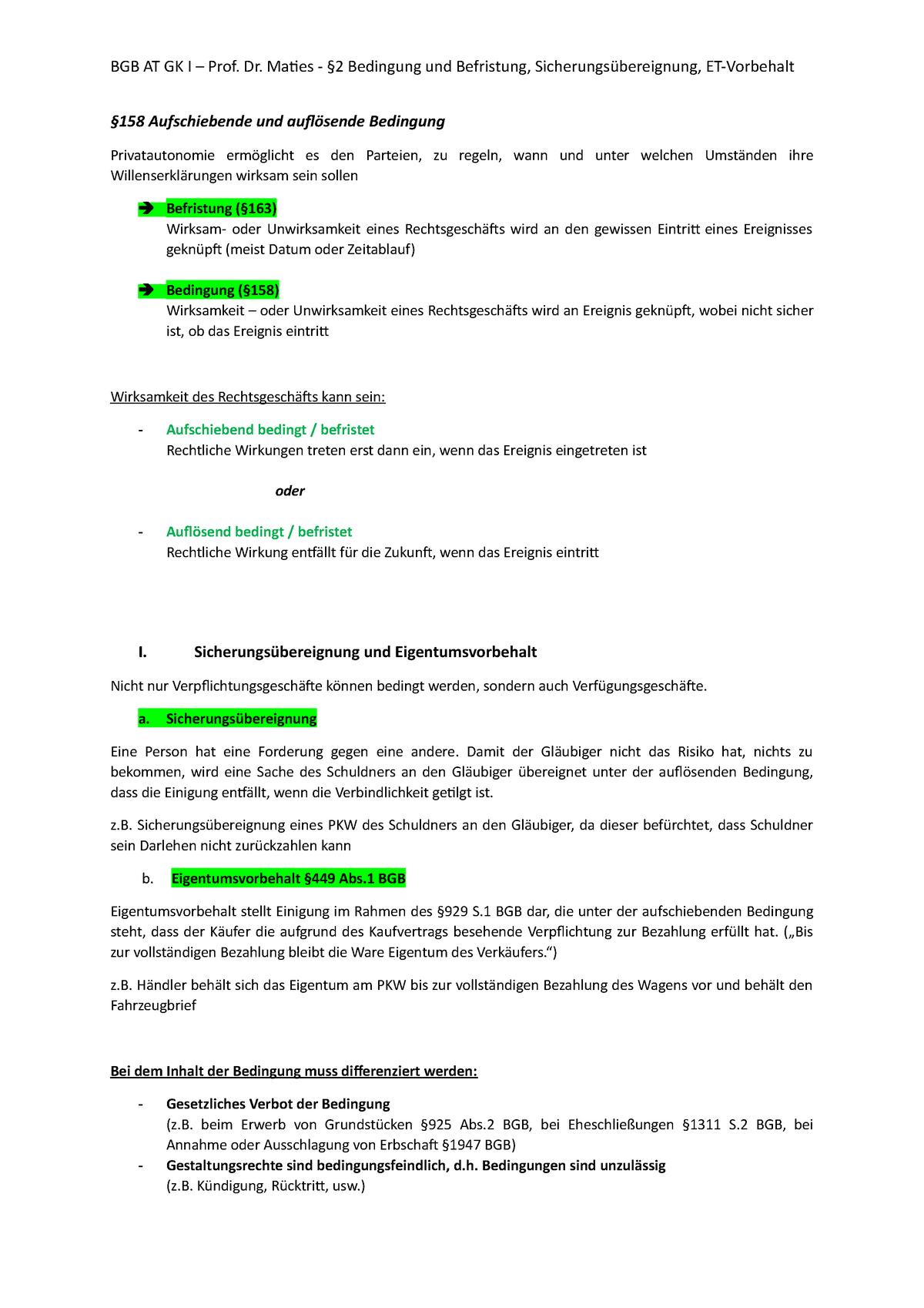 20 Bedingung und Befristung   Jura   Jura   Uni Augsburg   StuDocu