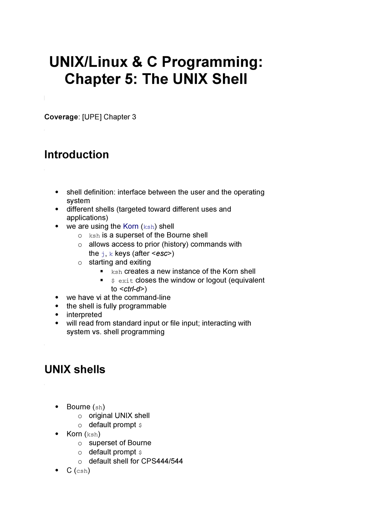 2014-2015 Lecture Notes 5 - The UNIX Shell - CPS 544: Systms