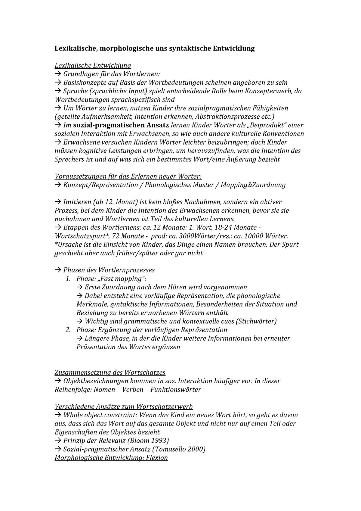 Lexikalische, morphologische und syntaktische Entwicklung ...