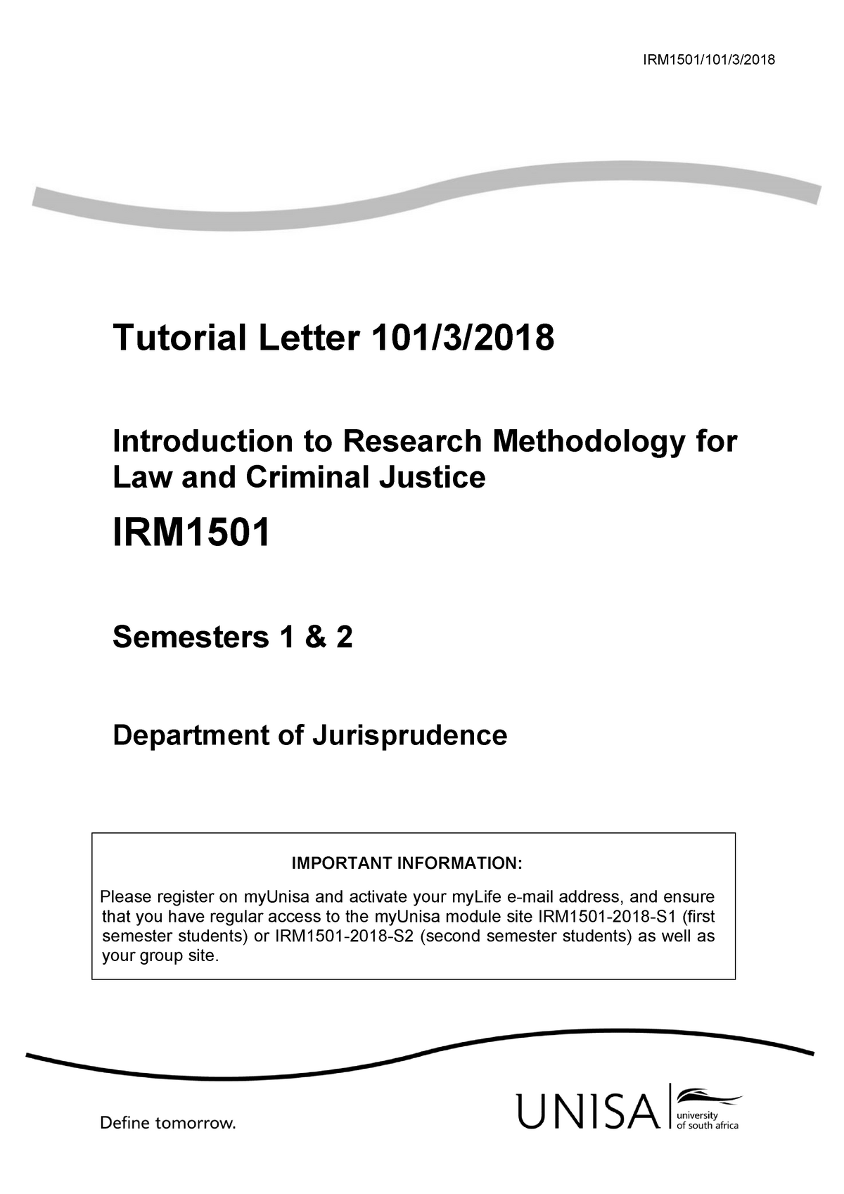 101 Irm 1501 2018 3 B Irm1501 101 3 Tutorial Letter 101 3 Introduction To Research Methodology Studocu