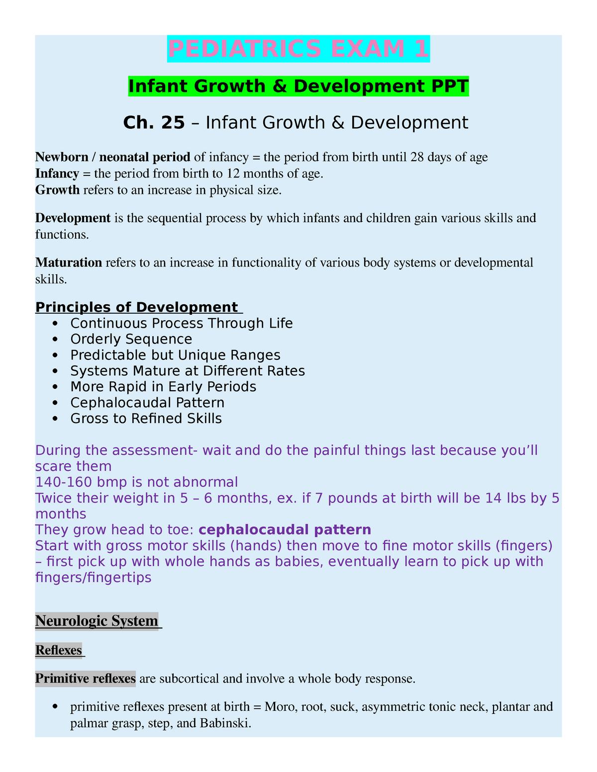 Peds Exam 1 JS* - Comprehensive review of Professor Lewis Nursing