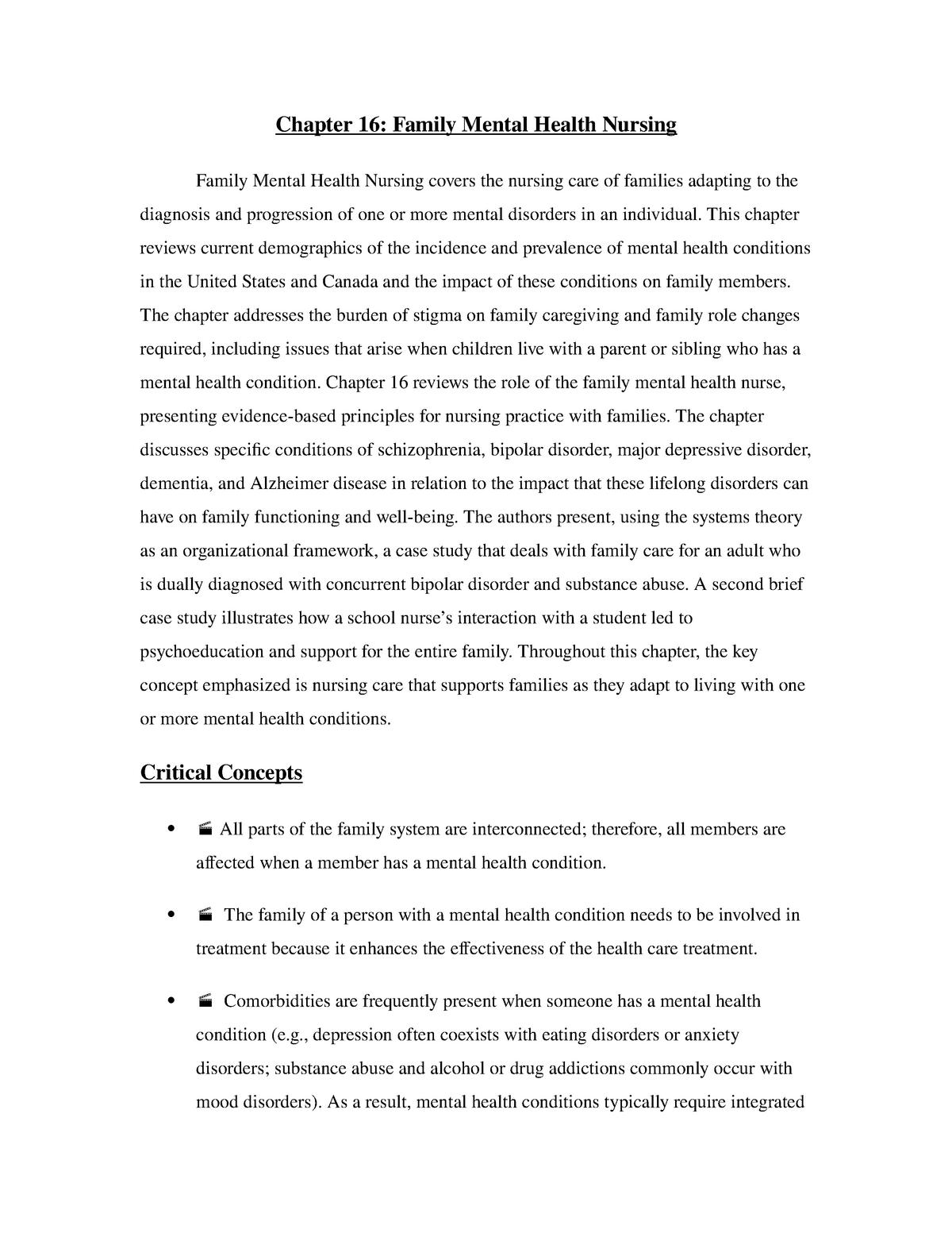 Chapter 16: Family Mental Health Nursing - CNUR 300 - StuDocu