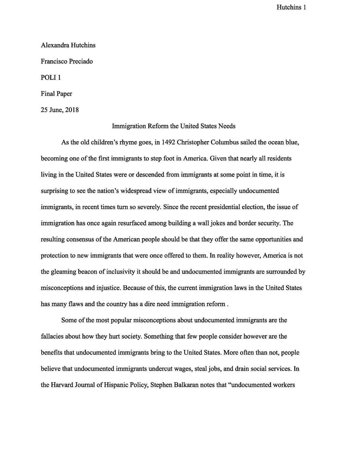 Immigration Reform Essay | Bartleby