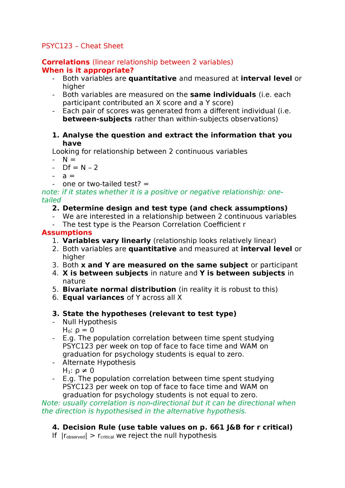 PSYC123 – Cheat Sheet - PSYC123: Theory Design and