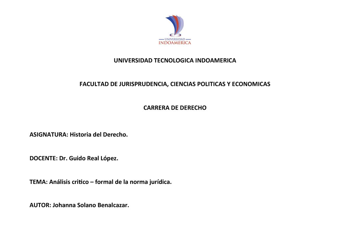 Análisis Critico Formal De La Norma Jurídica Studocu