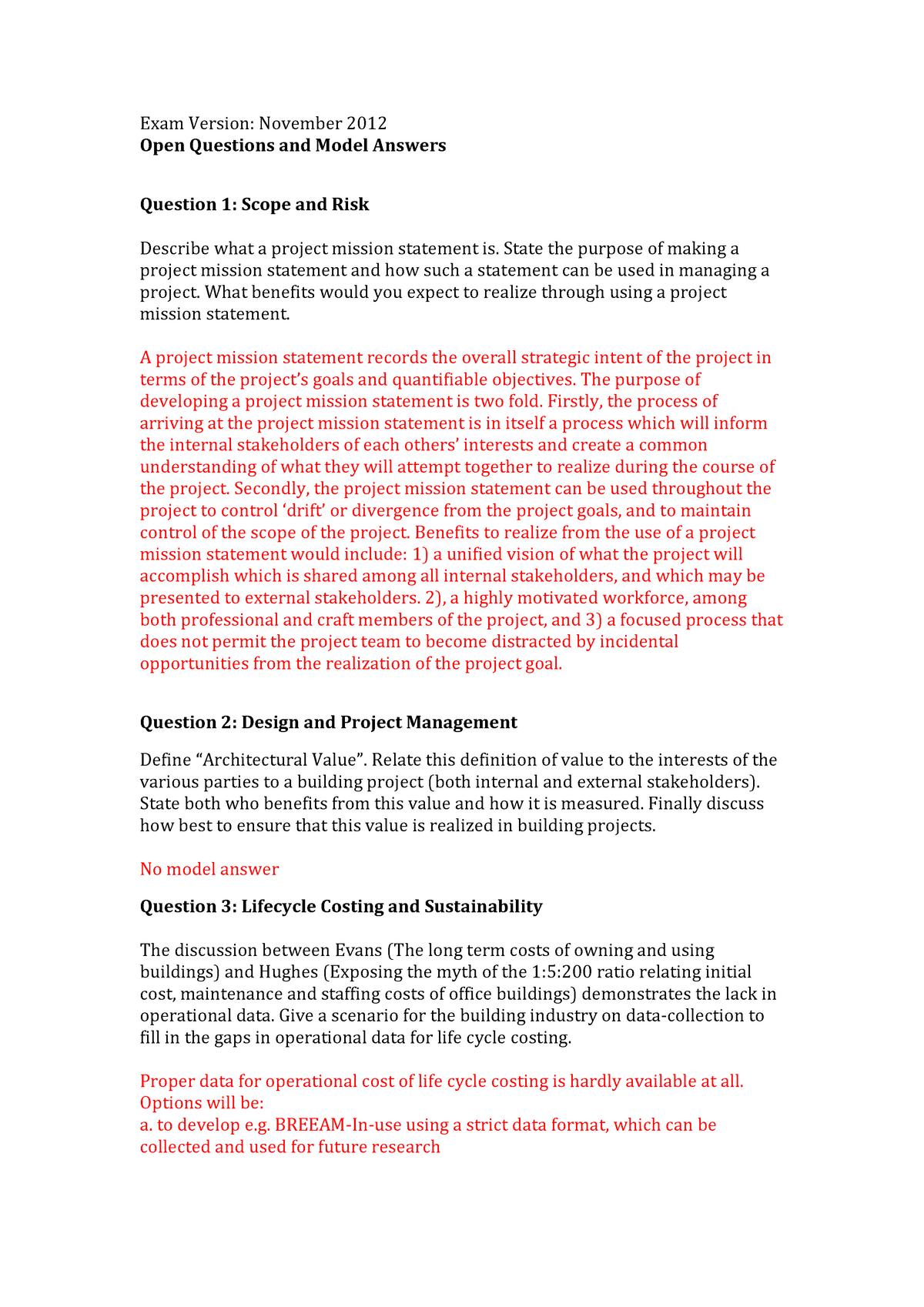 Tentamen 2012 - AR1R016: Design and Construction Management