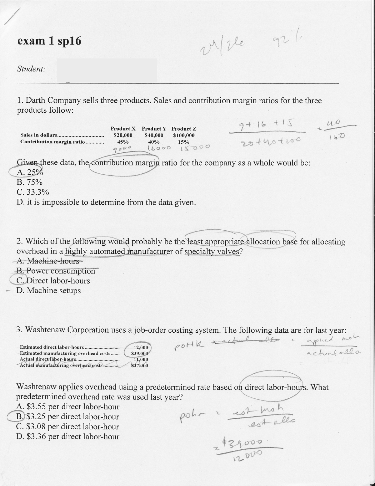 Exam 2016, questions and answers - First midterm - BMGT321