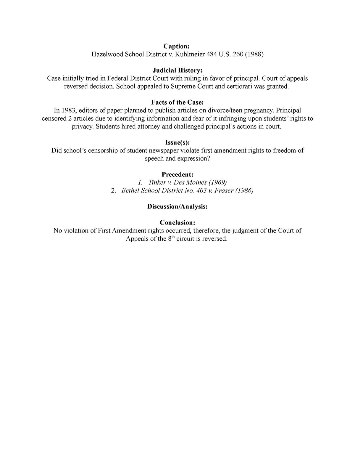 Hazelwood School District v  Kuhlmeier - PSC 308: Civil