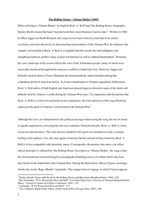 Essay - Music analysis The Rolling Stones - Grade 68 - - StuDocu