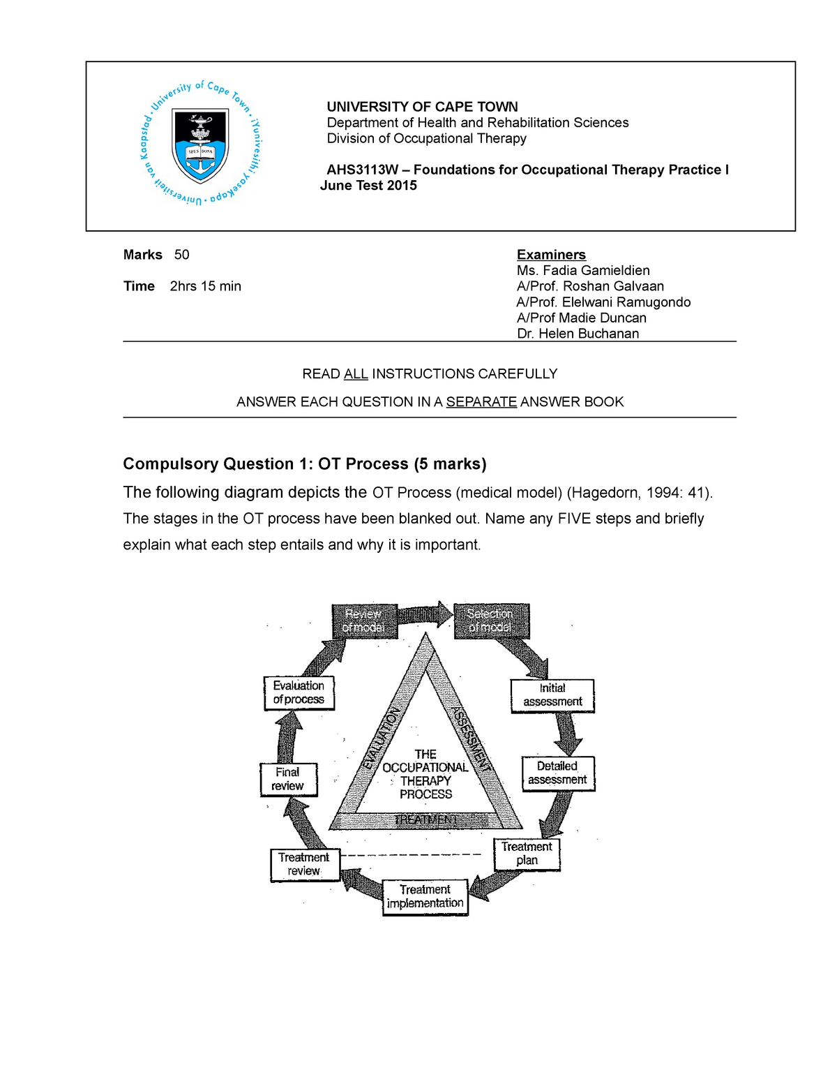 Exam Final 20 June 2015  Questions And Answers - Ahs3113w