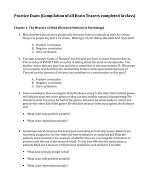 Exam 2016 - PSYCH 100: General Psychology - StuDocu