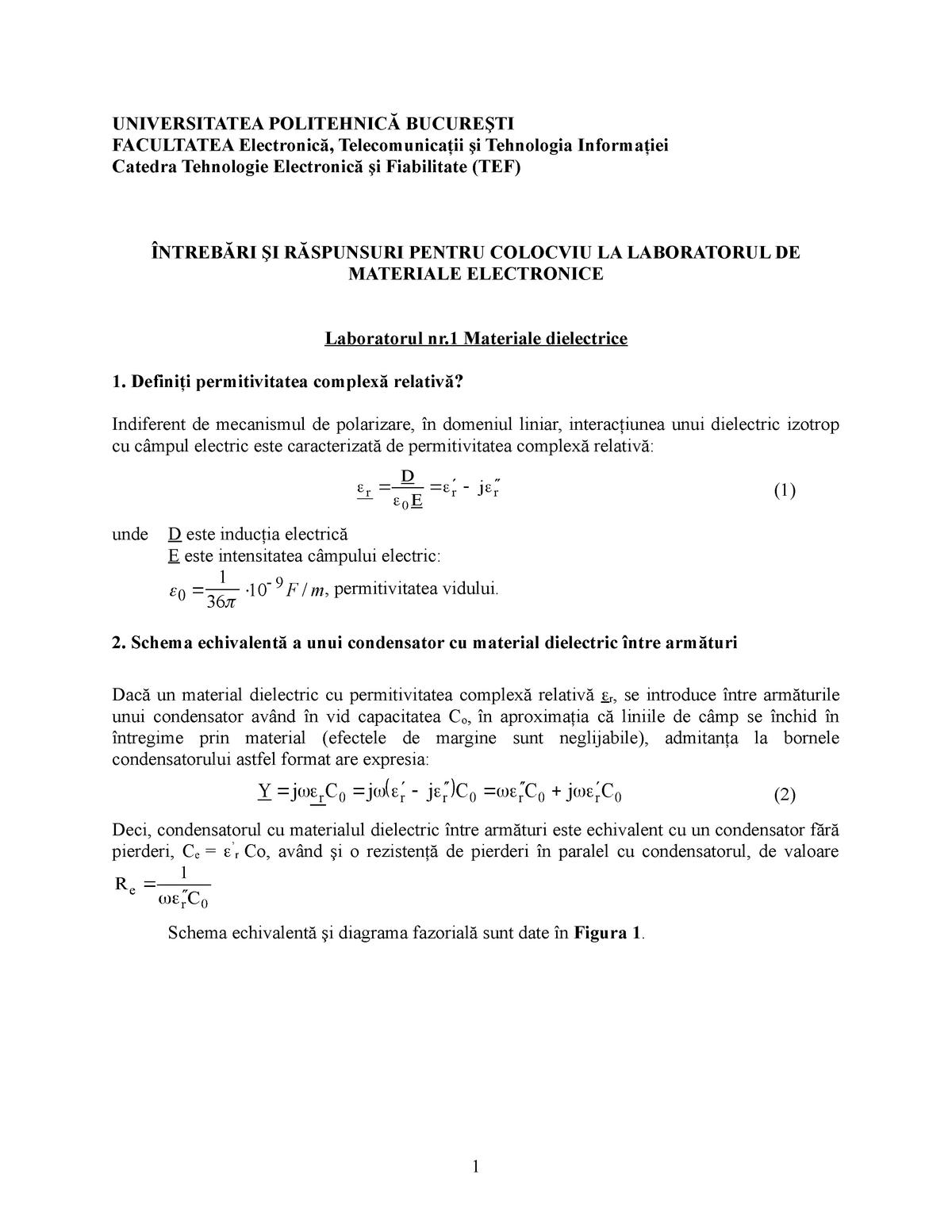 Rezumate lab - Materiale electrice - Analiza matematica