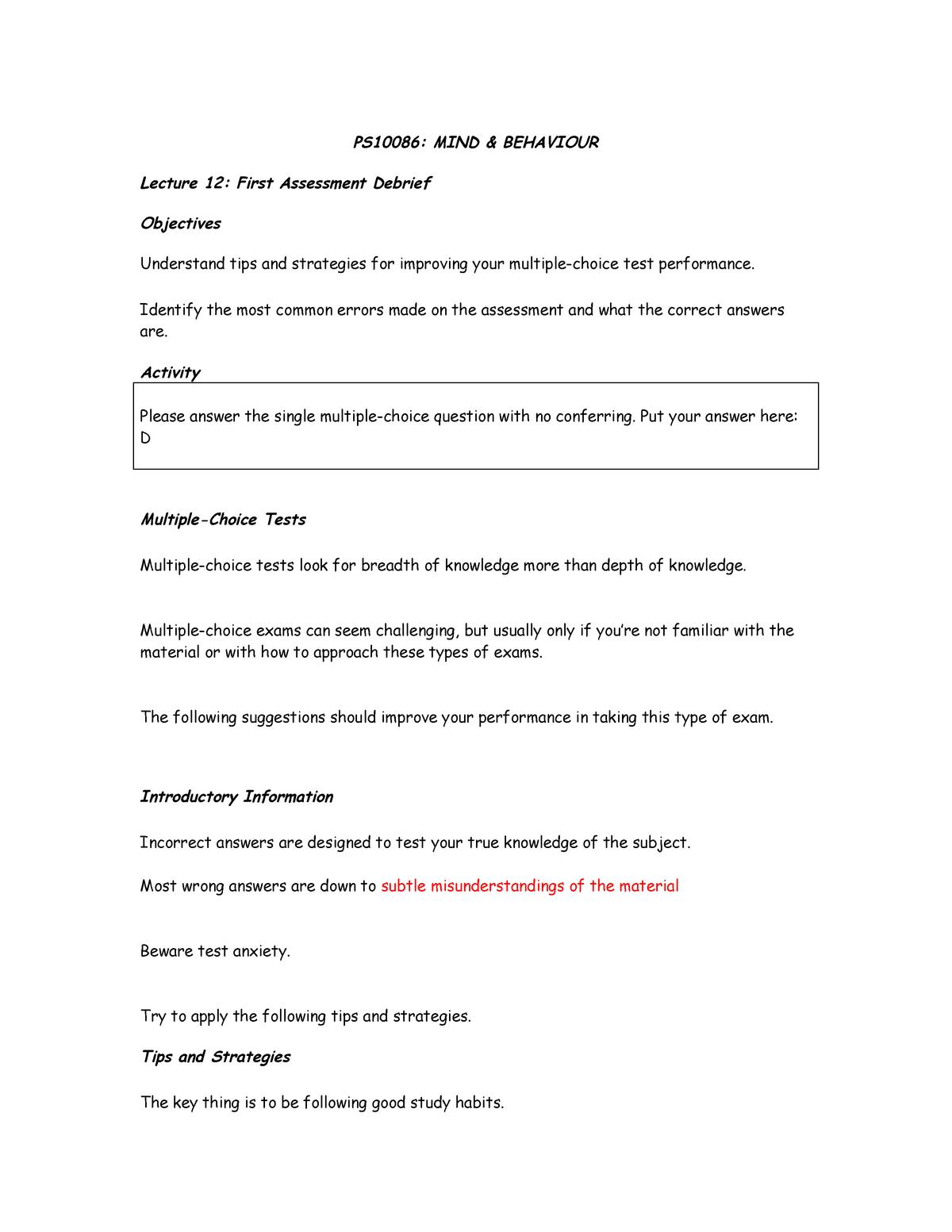 Lecture 12 Mock Exam Debrief Handout - PS10086 - StuDocu