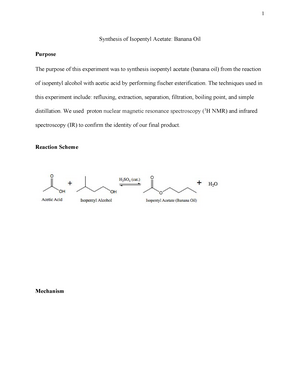 Sythesis Of Isopentyl Acetone Banana Oil Lab Report Chem 2311