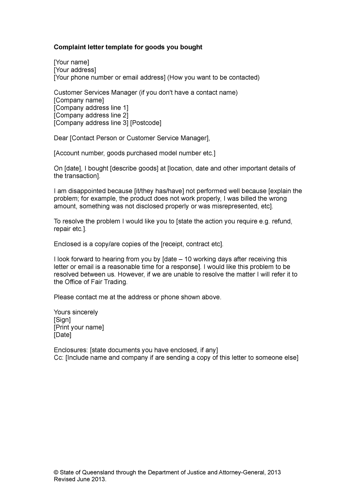 Sample letter for goods - BSB111: Business Law and Ethics