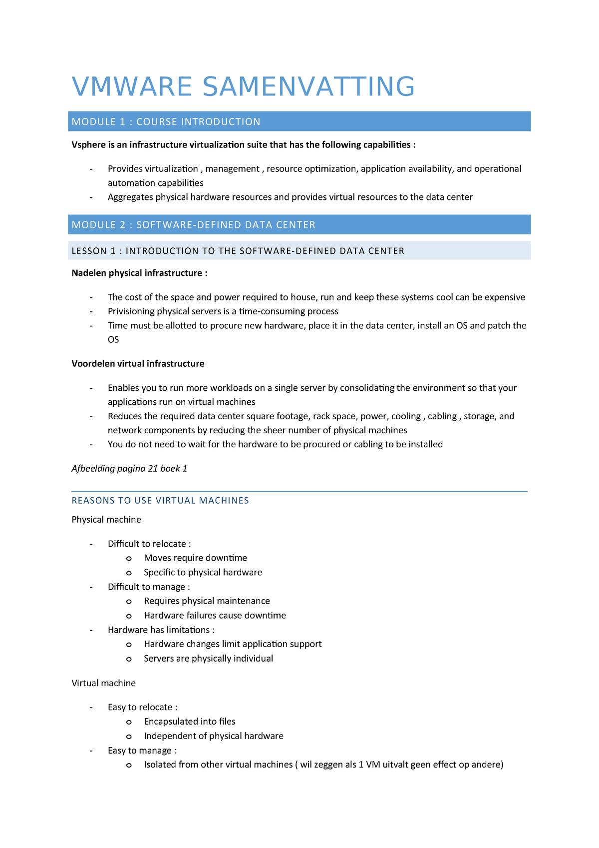 Samenvatting - compleet - Vmware - StuDocu