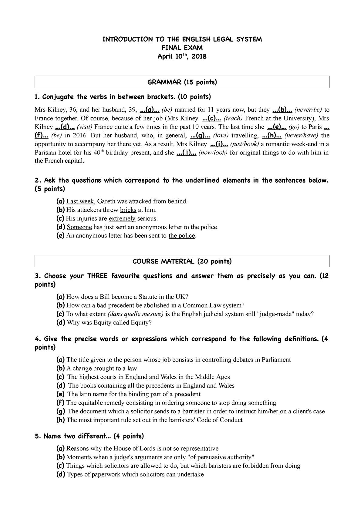 Examen 10 Avril 2018, questions - Anglais juridique - StuDocu