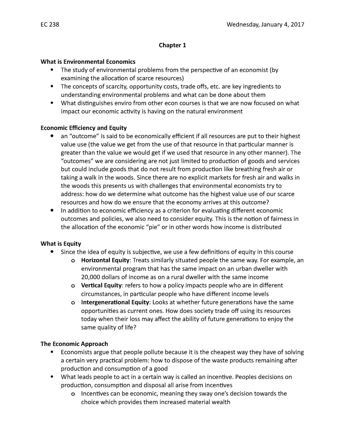 Chapter 1 Notes - EC238: Environmental Economics - StuDocu