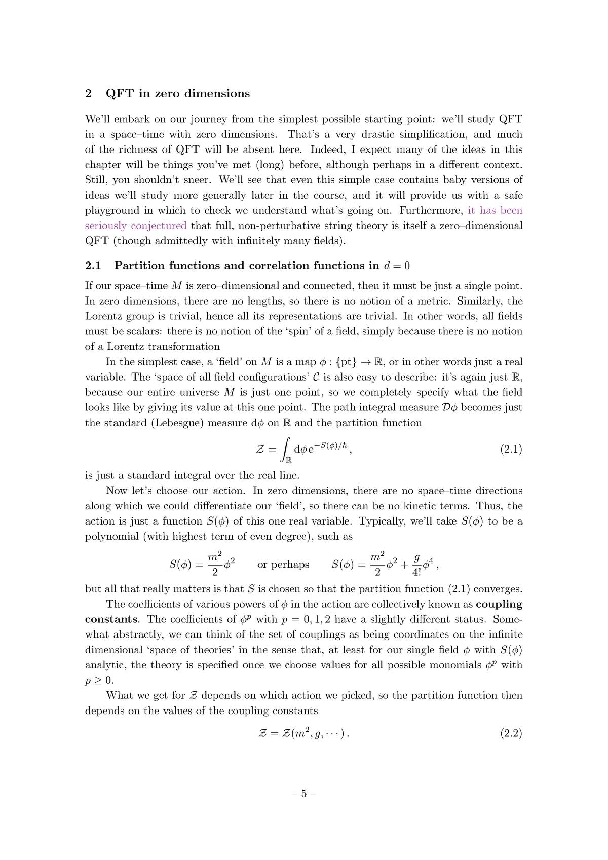 Quantum Field Theory: QFT in Zero Dimensions - - Tees - StuDocu