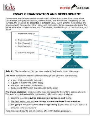 essay organization and development   eng  english   studocu