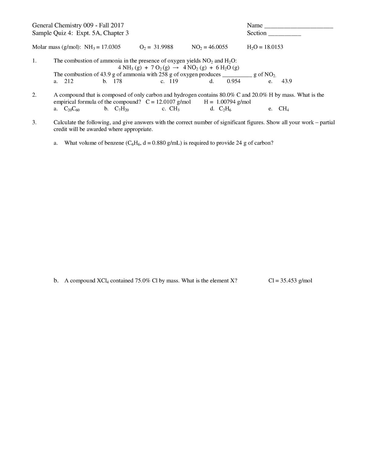 Quiz 3 - Chemistry Recitation Quiz - CHEM 117: Organic Chemistry I