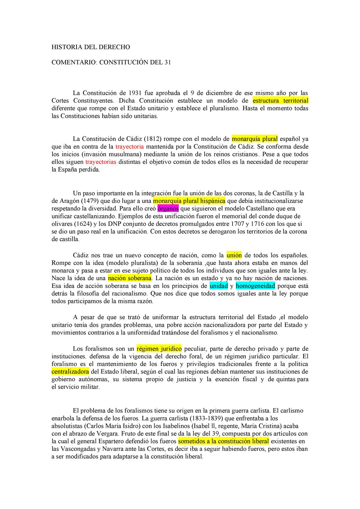 Comentario Constitución De 1931 Bien Historia Del Derecho