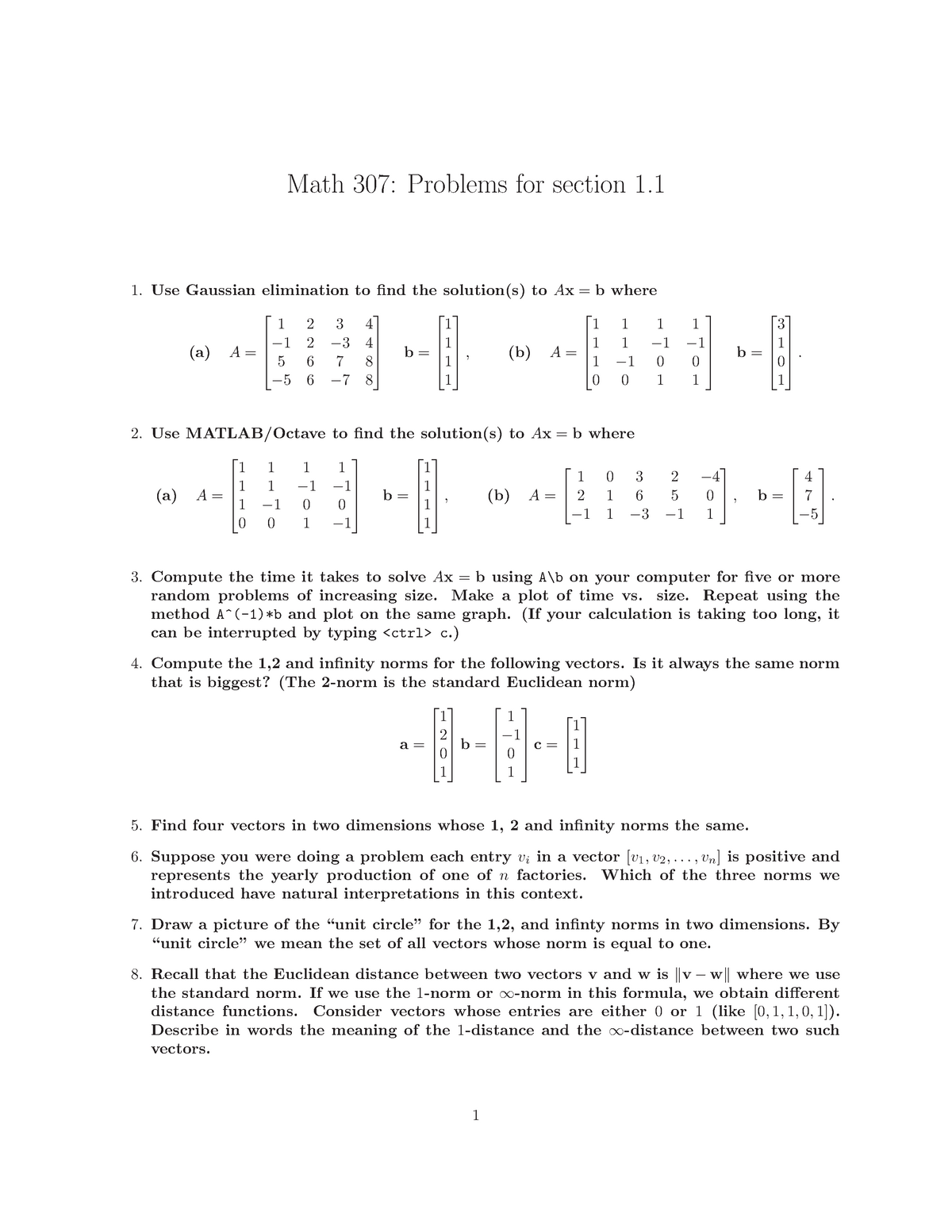 Assignment Problems and Solutions Summer 2011 - MATH 307: Applied