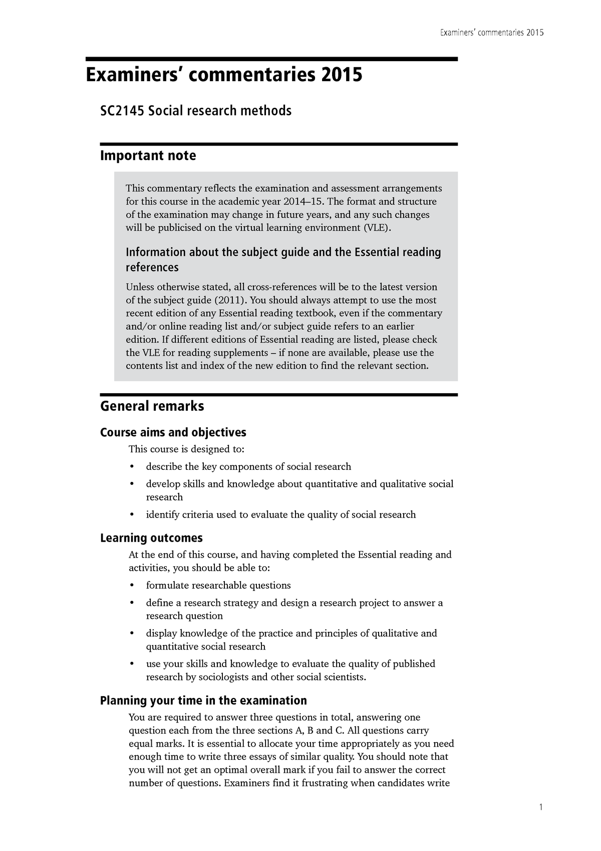 Exam 2015, questions and answers - Social research methods