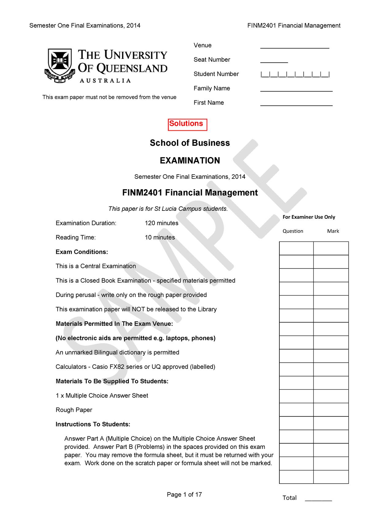 Exam 2014 - FINM2401: Financial Management - StuDocu