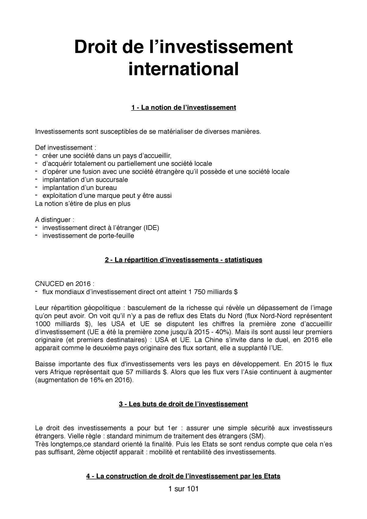 Cm Droit De L Investissement Inernational Studocu
