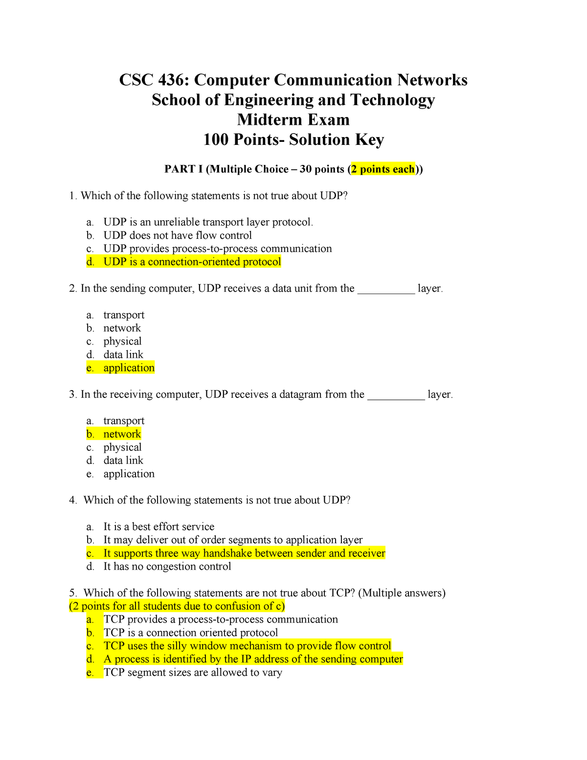 Exam 2015 - CSC 436: Comp  Communication Networks - StuDocu