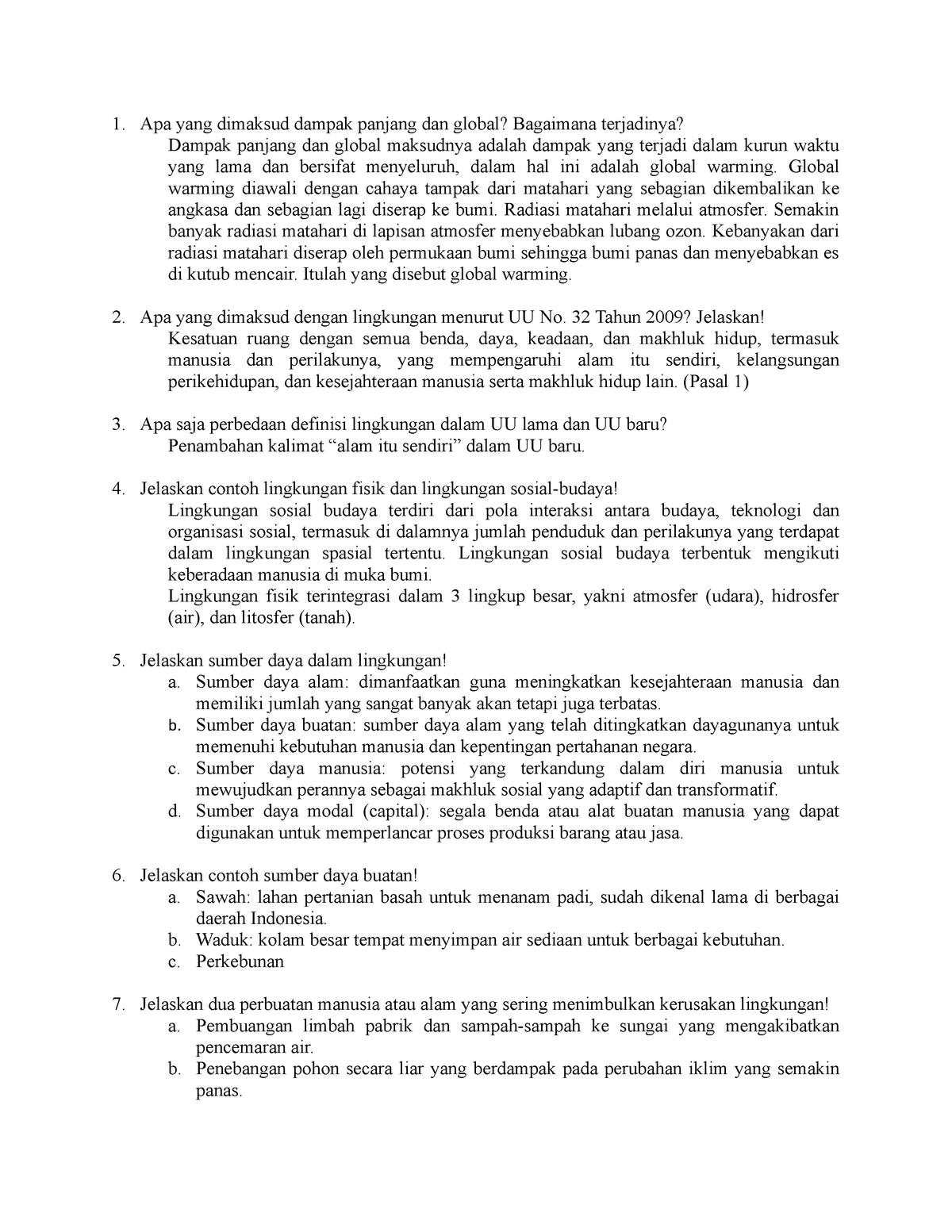 Soal Dan Jawaban Kuis Semester Pendek Hukum Lingkungan Studocu