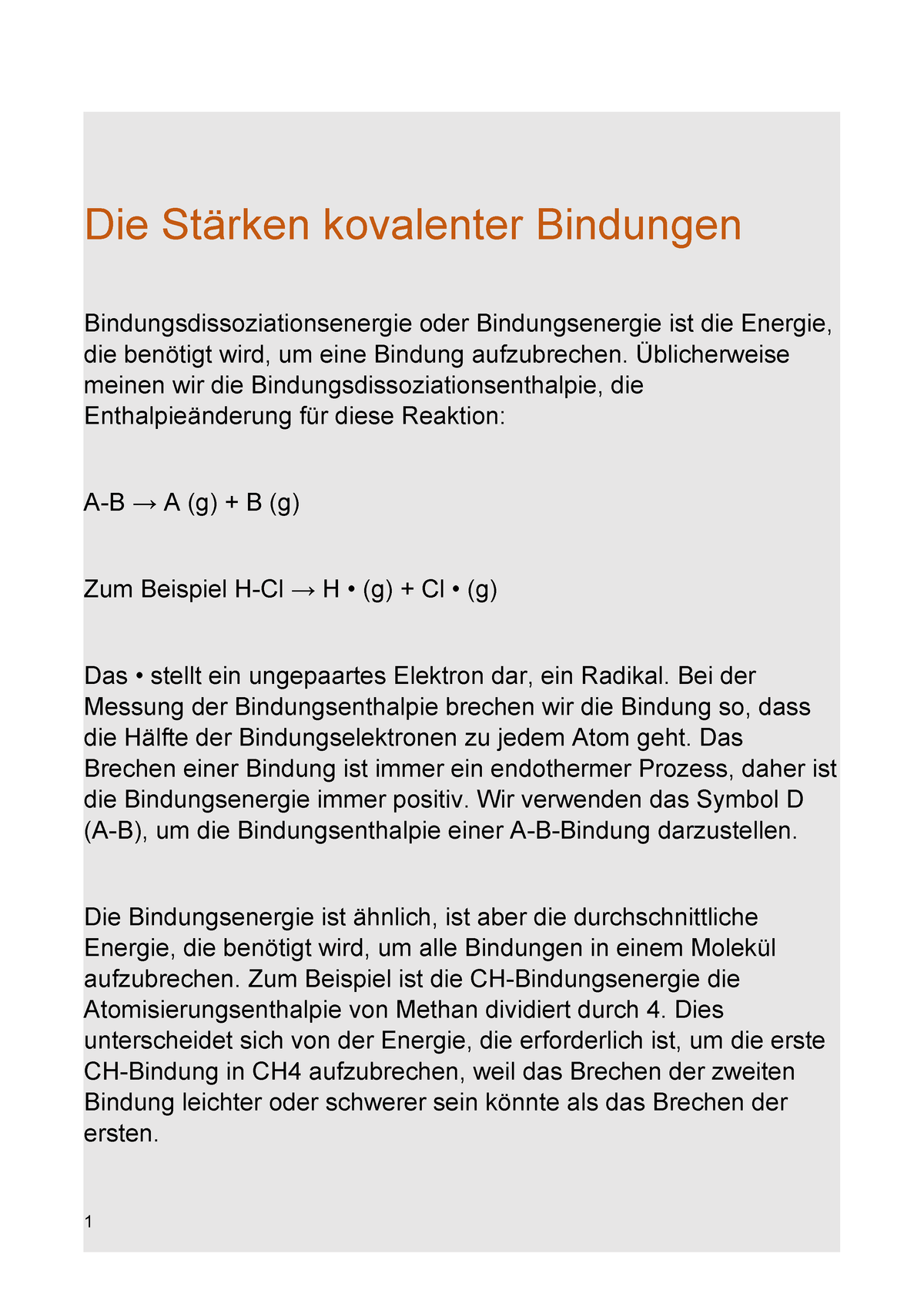 Die Stärken kovalenter Bindungen - CHEBM109 - Uni Potsdam - StuDocu