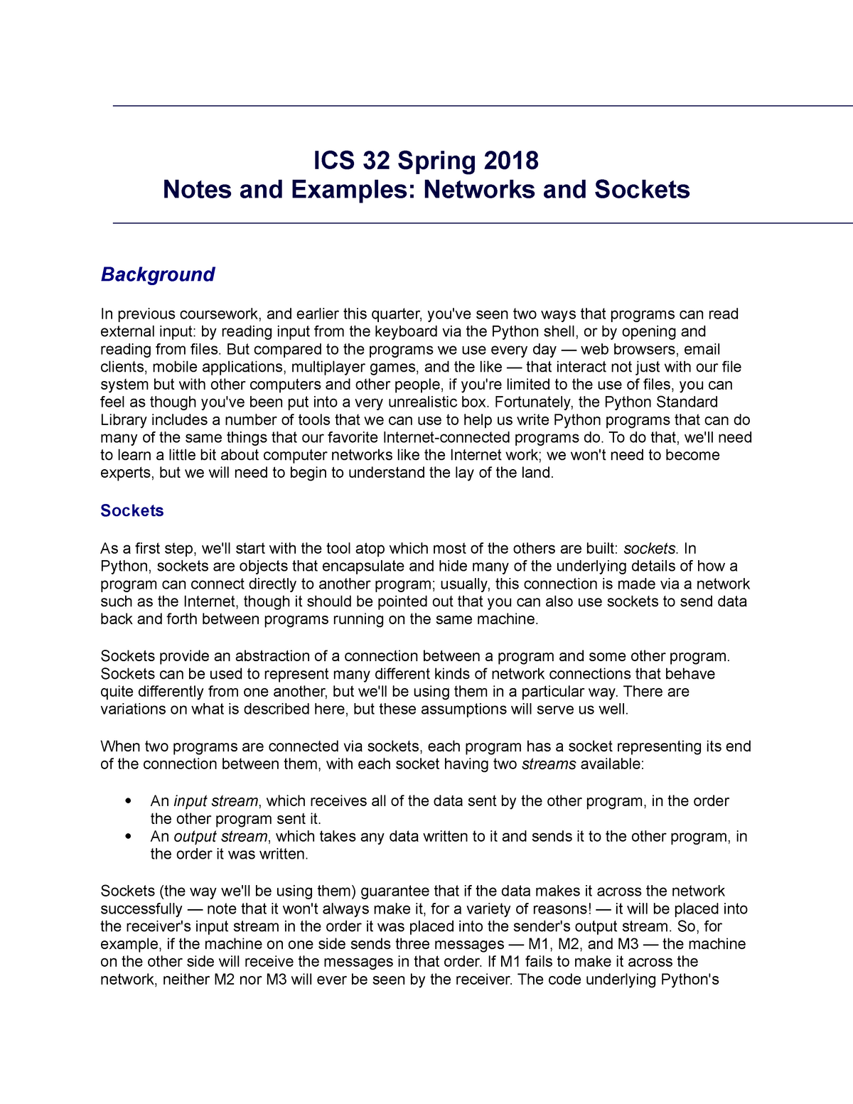 ICS 32 - 4:12 - Networks and Sockets - ICS 32: Into to
